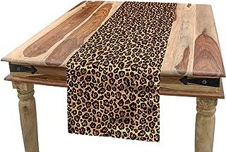 Ambesonne Leopard Print Table Runner, Leopard Texture Illustration Exotic Fauna Inspired Pattern Monochrome, Dining Room Kitchen Rectangular Runner, 16