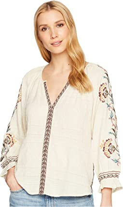 Textured Embroidered Peasant Top