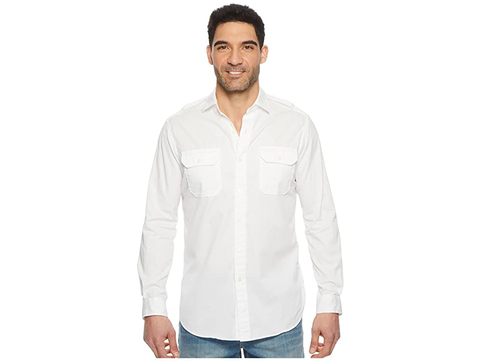 Polo Ralph Lauren Garment Dyed Chino Long Sleeve Sport Shirt (White) Men