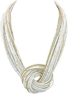 Seed Beads Multilayer Chunky Bib Statement Knot Necklace