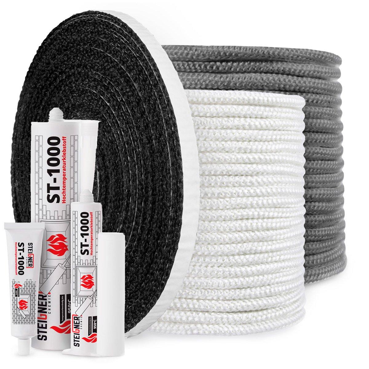 2 m STEIGNER Banda de Fibra de Vidrio de Chimenea SKD03 Negro sellador resiste al calor hasta 550/°C 10x2mm