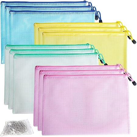DUOFIRE ジッパー式ファイル袋 a4 12枚 ファイル袋 メッシュ ファイルバッグ PVC 防水 メッシュジッパーポーチ ドキュメントポーチ