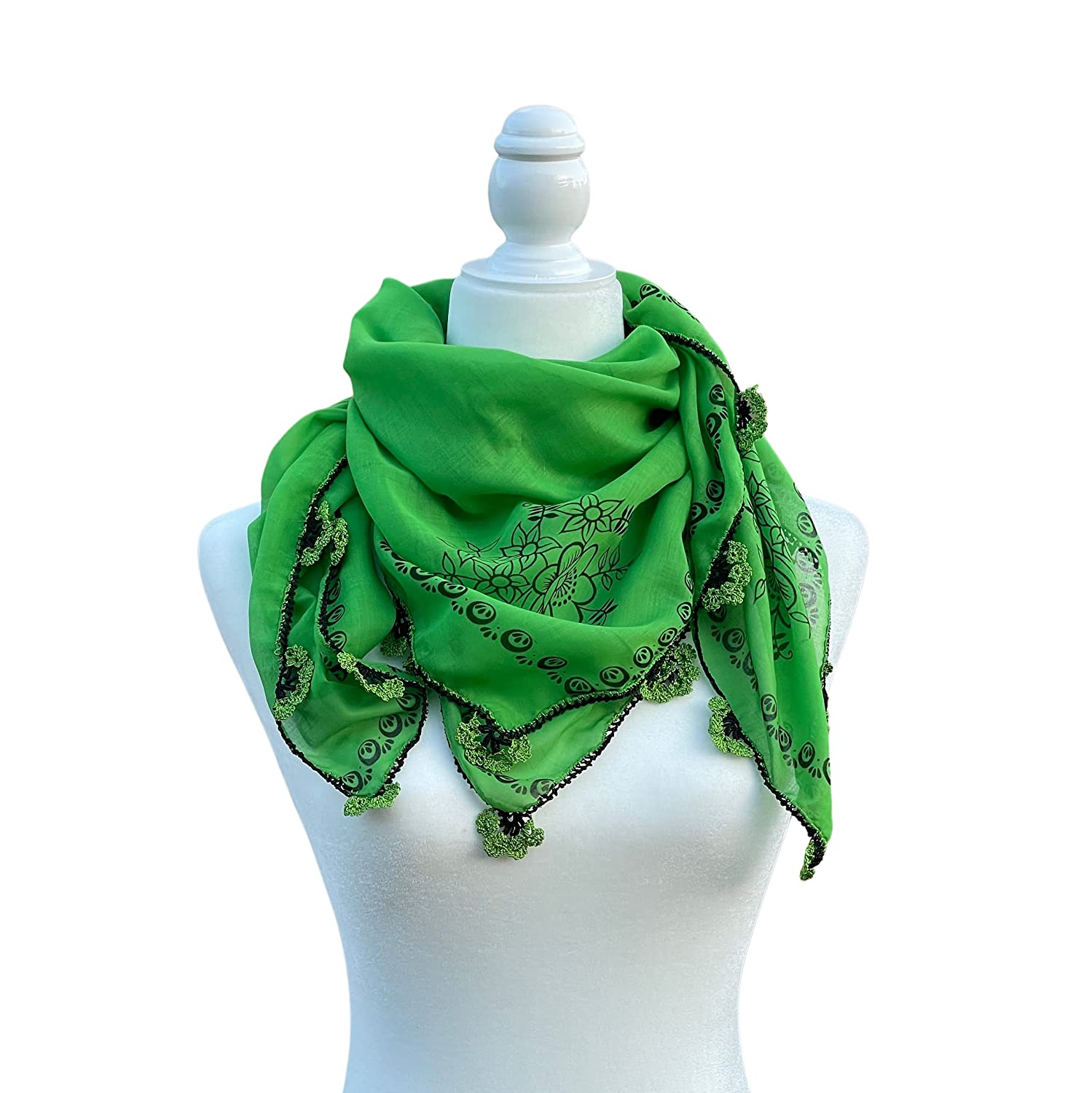 Turkish Ranking TOP16 Style Cotton mart Scarf with Floral Need Pattern Handmade and