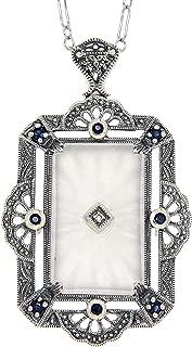 Art Deco Style Camphor Glass Sapphire/Diamond Pin/Brooch/Pendant