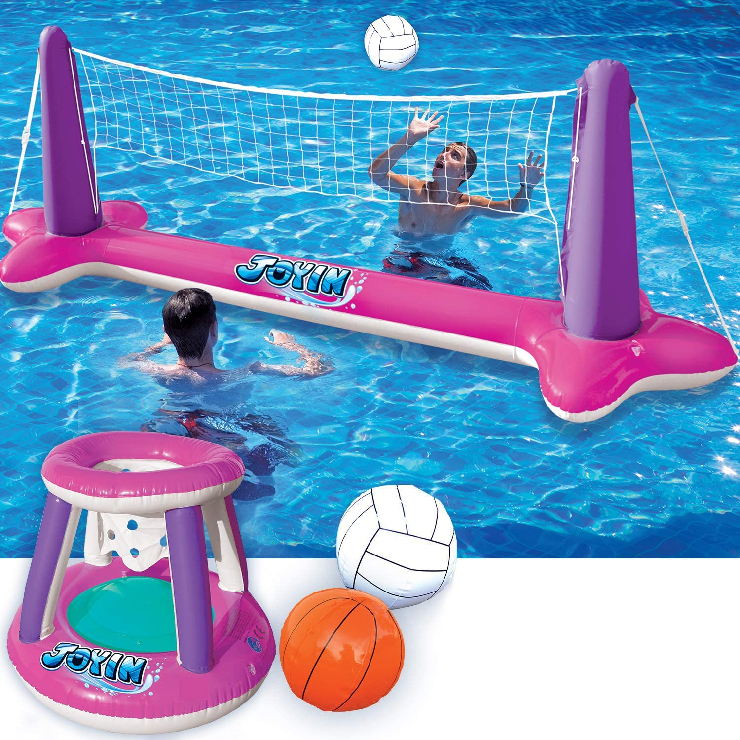 Inflatable Gorgeous Volleyball Net Basketball Hoops Set Pink Outlet SALE Float Pool