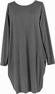 TEXTURE Ladies Women Italian Lagenlook Long Sleeves 2 Pocket Diagonal Panel Detail Jersey Cotton Tunic Dress One Size