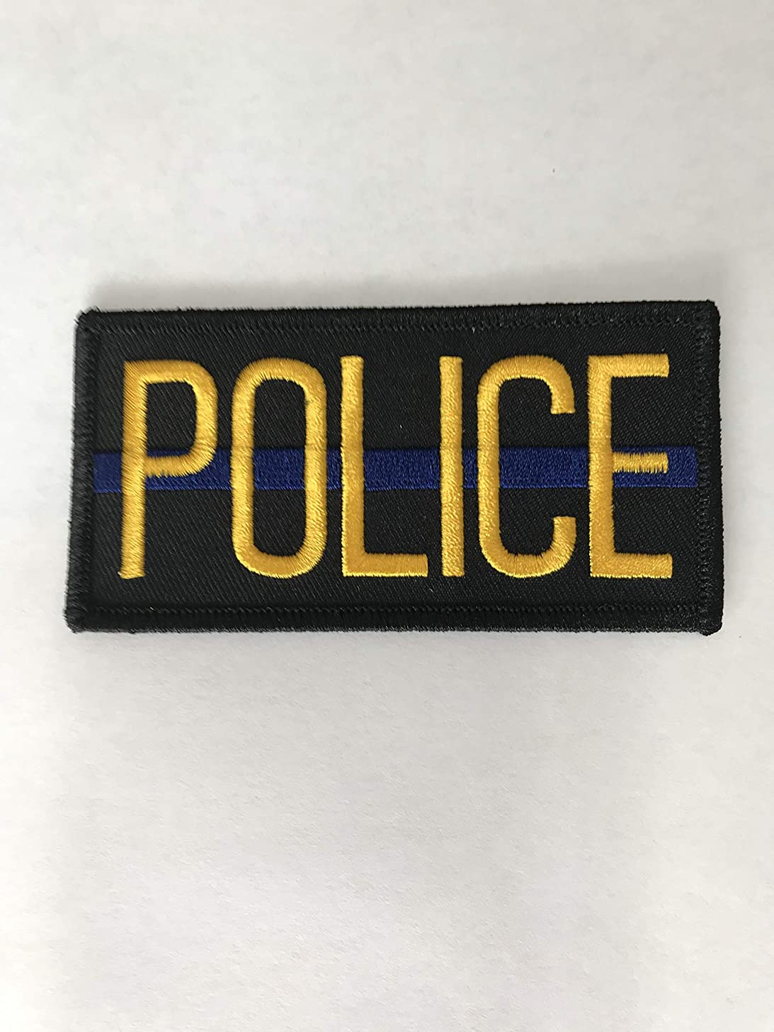 Police Officer Patch Chest or Shoulder (2 Pack) 4 x 2 inches Embroidered Yellow on Black with Blue Strip