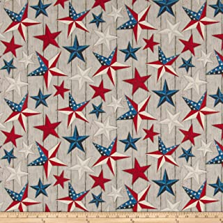 Springs Creative Products Susan Winget Patriotic Stars on Wood Digital Woven Fabric, Gray, Fabric By The Yard
