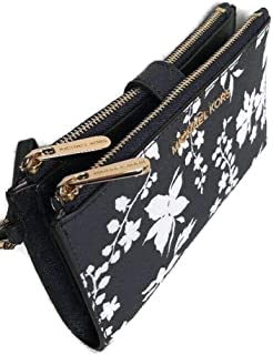 MICHAEL Michael Kors Jet Set Travel Wallet Double Zip Wristlet Phone Holder Signature Floral Navy White