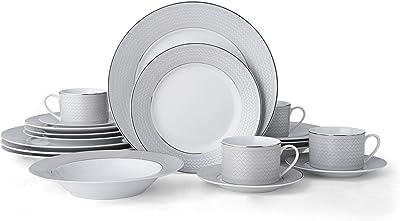 Mikasa Percy 20-Piece Porcelain Dinnerware Set, Service for 4, Grey