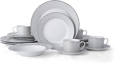 Mikasa 5228041 Percy 20-Piece Porcelain Dinnerware Set, Service for 4, Grey