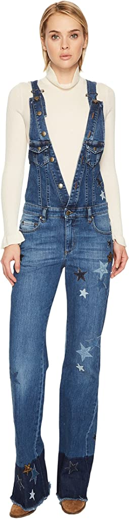 Denim Stretch Stone Washed, Resist Dyeing & Stars Patch Jumpsuit