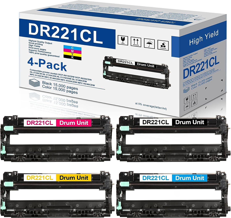 4-Pack(1BK+1C+1M+1Y) Compatible Brother DR221CL Drum Unit Sets Replacement for Brother DR221 DR-221CL DR221CL Drum Sets Unit Fits for HL-3140CW HL-3170CDW HL-3180CDW MFC-9130CW MFC-9330CDW Printer