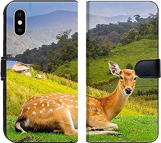 Luxlady iPhone XS MAX Flip Fabric Wallet Case ID: 40057403 Chital Deer Spotted Deer Axis Deer