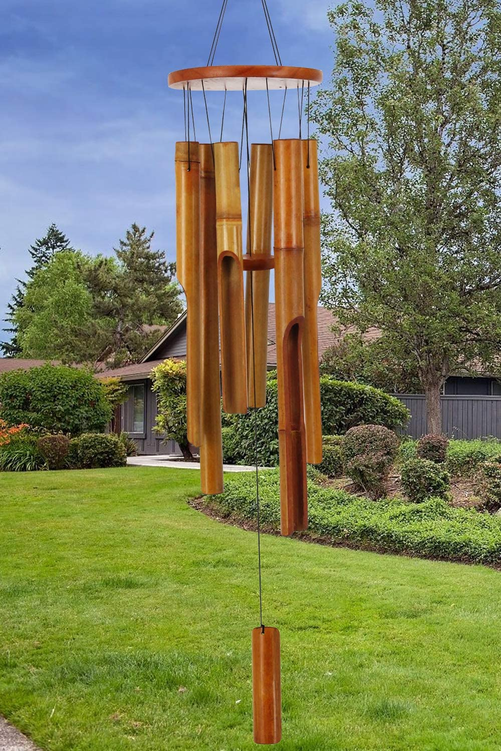 """Howarmer 36""""Wooden Wind Chimes Elegant Large Bamboo Outdoor Max 53% OFF Ch"""