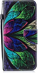 DENDICO Galaxy Plus Case  Flip Wallet Leather Case Slim Book Cover for Samsung Galaxy Plus Magnetic Stand Protective Shockproof Case with Card Holder Colourful Leaf