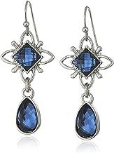 1928 Jewelry Silver-Tone Blue Drop Earrings