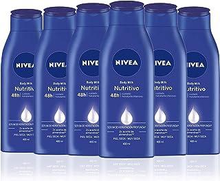NIVEA Body Milk Nutritivo en pack de 6 (6 x 400 ml) leche corporal para una hidratación profunda durante 48 h crema hidr...