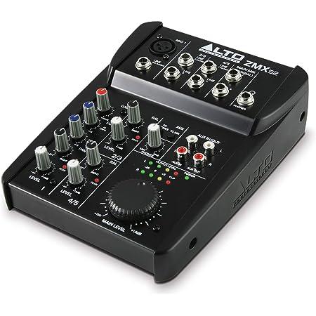 ALTO Professional ZMX52 – Table de Mixage Compacte 5 Voies de Qualité Studio avec Entrée XLR pour Microphone, 2 Entrées Stéréos et Une Sortie AUX