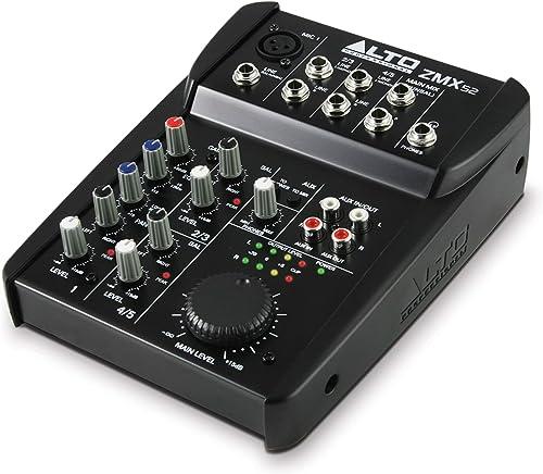 ALTO Professional ZMX52 – Table de Mixage Compacte 5 Voies de Qualité Studio avec Entrée XLR pour Microphone, 2 Entré...