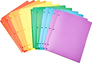 AmazonBasics Plastic 3 Hole Punch Folders with 2 Pockets, Multicolor Pack of 12