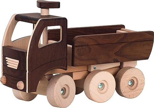 cama24com Kipper Laster LKW von goki Nature Baustellenfürzeug natürliches Spielzeug mit Palandi tücker