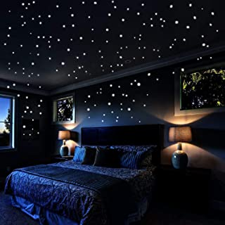 Glow In The Dark Stars Wall Stickers, 253 Adhesive Dots and Moon Luminous Ceiling Decals for Lovers' Bedroom Decor - Star Wars Wall Stickers Gift for Kids Bedroom Starry Sky Decor