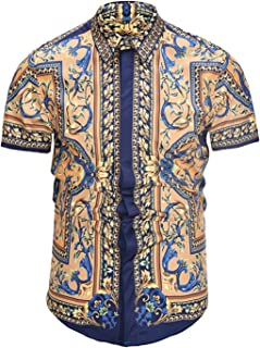 Men's Short Sleeve Luxury Print Dress Shirt