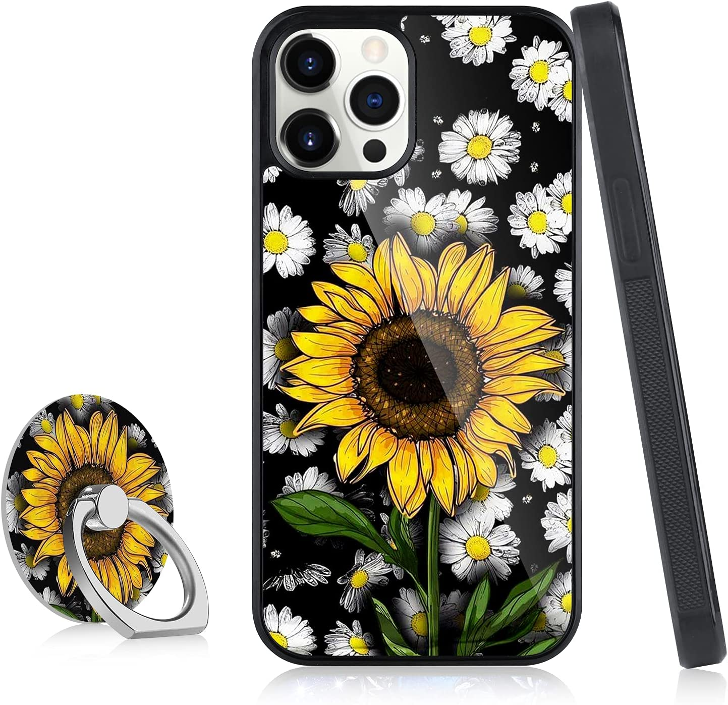 OOK Designed for iPhone 13 Case for Women Girls Flower Floral Sunflower Blossom Cute Design with Ring Holder Stand Kickstand Slim Protective Hard Back Bumper Cover Case