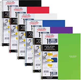 """Five Star Spiral Notebooks, 1 Subject, Graph Ruled Paper, 100 Sheets, 11"""" x 8-1/2"""", Color Will Vary, 2 Pack (73531)"""