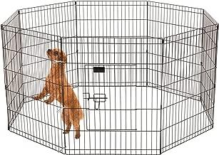 Ollieroo Dog Playpen Exercise Pen Cat Fence Pet Outdoor Indoor Cage 8 Panel Black E-Coat