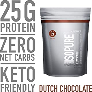 Isopure Low Carb, Keto Friendly Protein Powder, 100% Whey Protein Isolate, Flavor: Dutch Chocolate, 1 Pound