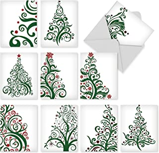 10 Assorted 'Just Fir You' Christmas Cards with Envelopes (4 x 5.12 Inch), Boxed Holiday Greeting Cards with Artistic Christmas Tree Graphics, Blank Stationery for Xmas, New Year, Weddings M6019
