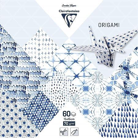 Clairefontaine 95349C - Une pochette origami 60 feuilles 15x15 cm 70g motifs assortis (30 motifs x 2 feuilles), Shibori