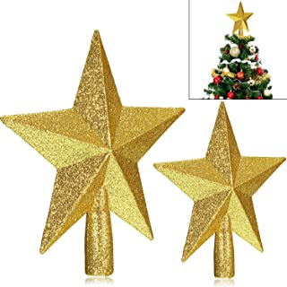WILLBOND 2 Pieces Glittered Christmas Tree Topper Gold Plastic Star Treetop Sparkling for Christmas Tree Decoration or Home Decor 8 inch and 6 inch