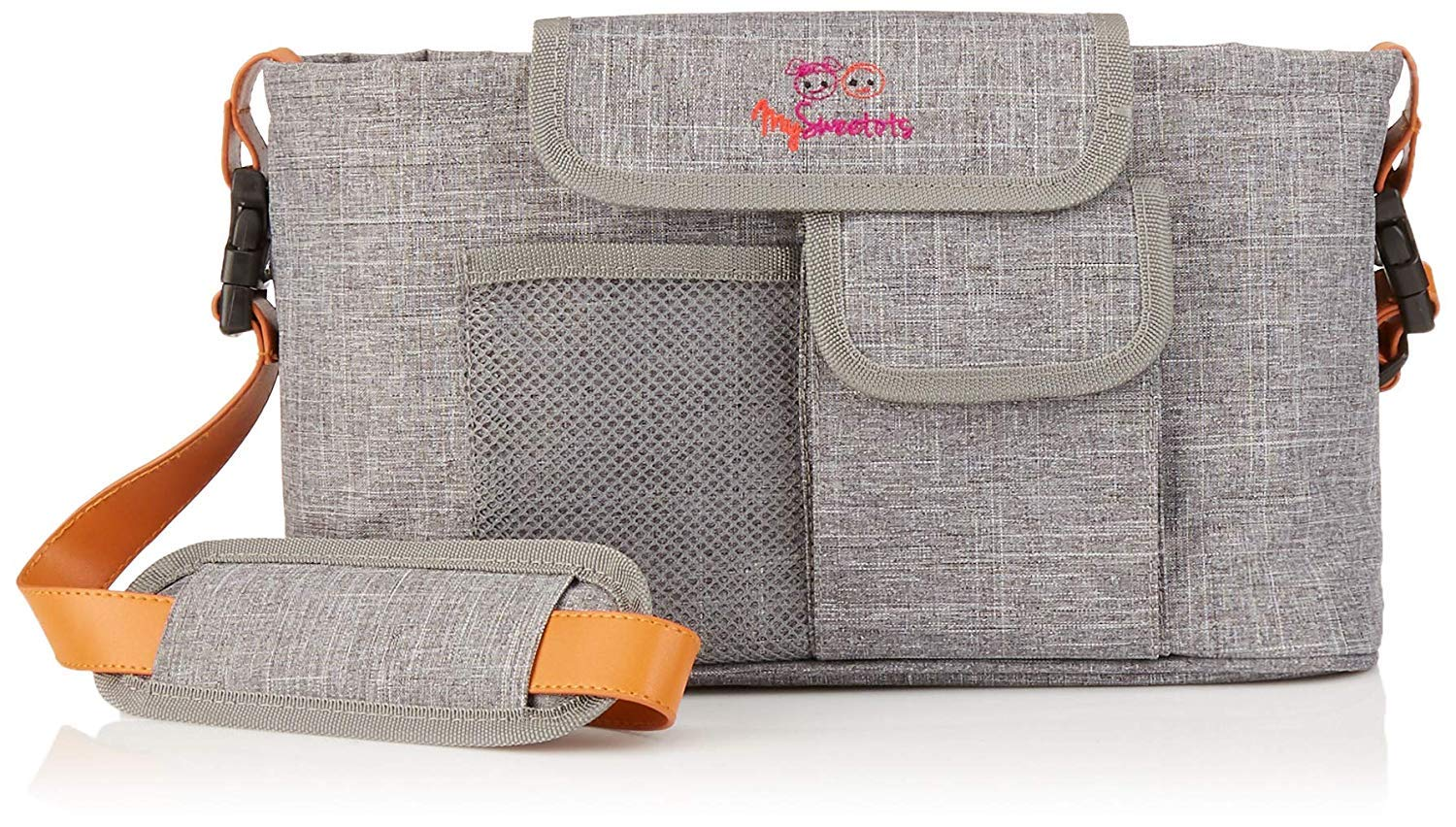MySweetots All-in-1 Baby Stroller Organizer | Large Cup Holders, Plenty of Pockets, Key Holder, Wipes Pocket, Bonus Leather Strap | Multipurpose Baby Bag for Busy Parents | Free Diaper Changing Pad!!