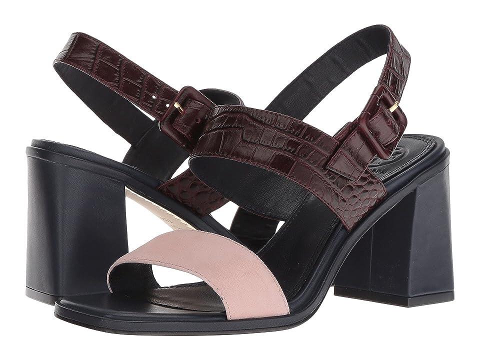 Tory Burch Delaney 75mm Sandal (Sea Shell Pink/Malbec) Women