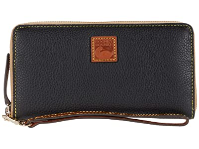 Dooney & Bourke Pebble Large Zip Around Wristlet (Black) Wallet Handbags