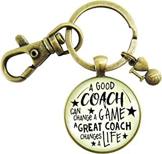 Volleyball Coaching Keychain A Great Coach Changes A Life Quote Thank You Key Ring Appreciation Gifts For Men Women