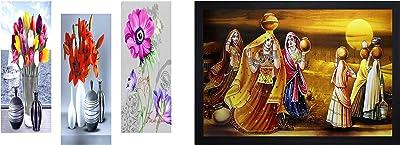 SAF Flower Floral 6Mm MIFF Framed Digital Reprint 15 Inch X 18 Inch Painting Sanfj37 & Textured Print with Up Framed Reprint Painting (Sanfo516, 30 cm X 3 cm X 45 cm) Combo