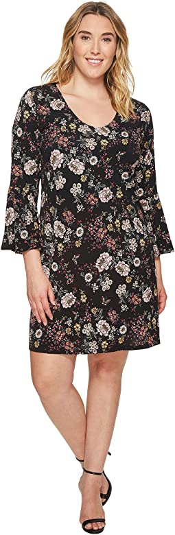 Plus Size Floral V-Neck Bell Sleeve Dress