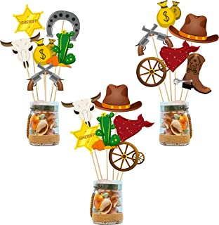 Ticiaga Cowboy Party Favors, 30pcs West Cowboy Party Centerpiece Cards and Sticks Table Toppers for Birthday Party Decoration, Double Sided Party Photo Booth Props for Table, Cowboy Cake Topper Set