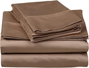 530 Thread Count, 100% Premium Combed Cotton, Single Ply, California King 4-Piece Sheet Set, Solid, Taupe