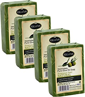 Kalliston, Natural Extra Virgin Olive Oil Soap, Fragrance Free, All Natural for Smooth Skin, Hypoallergenic, Cruelty Free,...