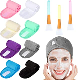 Whaline 8 Pack Multicolor Spa Makeup Headband with 3Pcs Silicone Face Mask Brush, Facial Headbands Hair Towel Wrap and Body Butter Applicator Tools for Wash Face,Bath,Shower and Sport