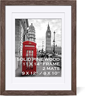 11x14 Rustic Picture Frames Solid Wood Distressed Brown- Display Picture 9x12 or 8x10 with Mat or 11x14 Frame without Mat - Farmhouse Wooden Photo Frame 11x14 with 2 Mats for Wall Mounting or Table Top