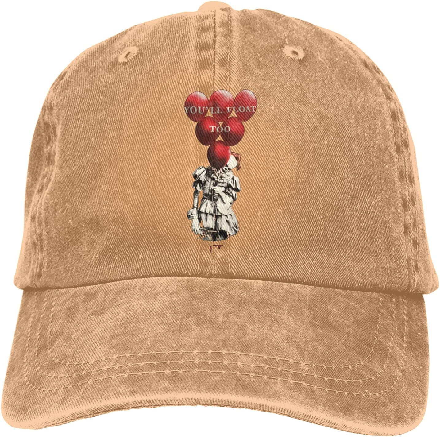 It Pennywise Clown Cowboy Hat Unisex Adjustable Hat Circumference Size Pure Cotton Denim Wash Water Outdoor