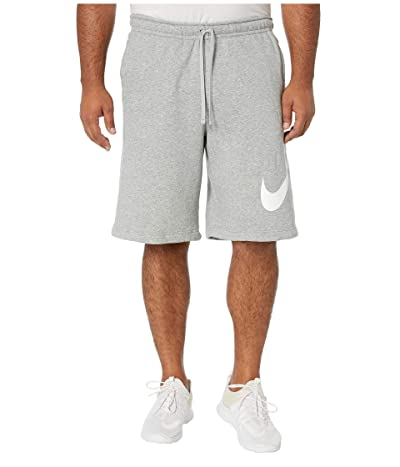 Nike Big Tall NSW Club Shorts Exploded Swoosh (Dark Grey Heather/Matte Silver/White) Men