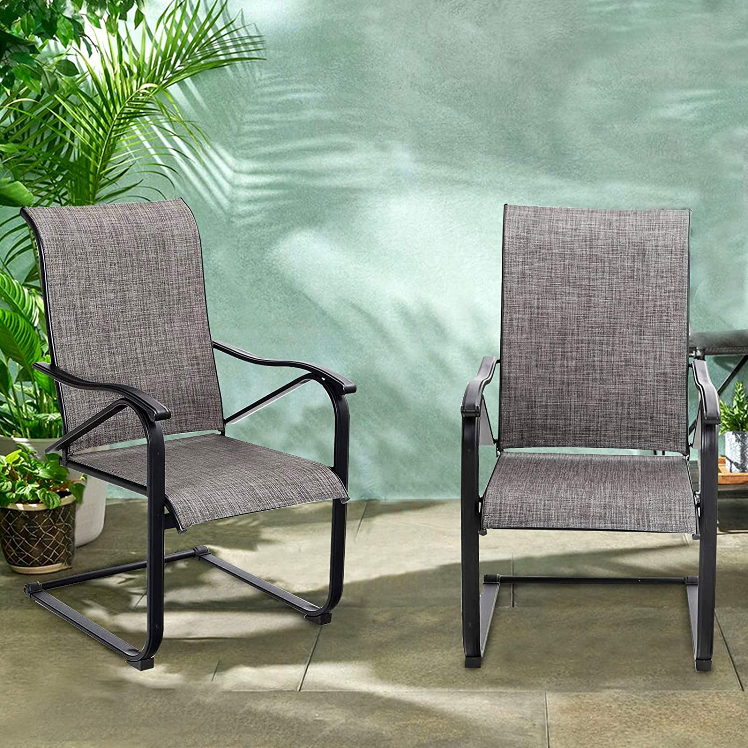 PHI VILLA Patio C Spring Motion Back M Chairs High Metal Fabric Our shop most Arlington Mall popular