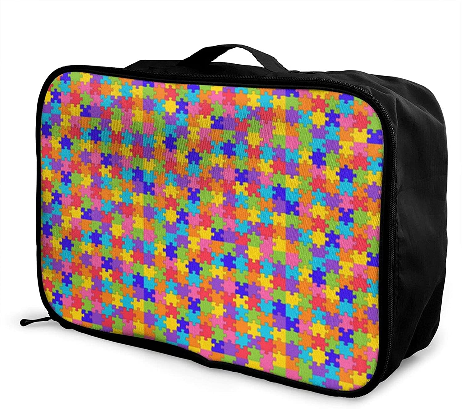 Foldable Travel Fort OFFicial mail order Worth Mall Bag Tote Colorful Pieces Awareness Puzzle Autism